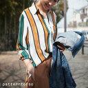 大人ハンサムに欠かせないお洒落なシャツ。『トレンドに左右されない永遠アイテム。』4月17日20時〜再再再販!配色の可愛さならコレ。レトロカラーストライプ柄シャツi4