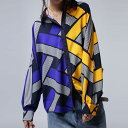 コントラストの美しい配色でハンサムレディな佇まい。柄ドルマンシャツ・2月9日20時〜発売。(80)◎メール便可!