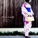 大発表!!大人の魅力増すレトロ花柄。帯&下駄付き花柄浴衣3点セット・##×メール便不可!【198B】