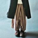 antiquatoy新作!『retroで雰囲気あるストライプを贅沢にワイドのカタチで。』12月22日20時〜発売!キッズのお洒落は柄で決まる。ストライプサルエル...