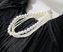Email service free shipping! [pearl  -  pearl accessories wedding ceremony pearl necklace four circle party necklace party party] design necklace #ne150 of the pearl