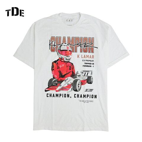 TDE THE CHAMPIONSHIP TOURオフィシャル Tシャツ【CHAMPION K LAMAR】【WHITE】アーティスト 半袖 プリント S/S T-SHIRT 新品 ホワイト ケンドリックラマー Kendrick Lamar あす楽対応