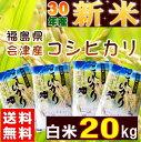 コシヒカリ 20kg(5kg×4袋) 新米 福島県産 お米 30年産 会津産 送料無料『30年福島県会津産コシヒカリ(白米5kg×4)』 【RCP】