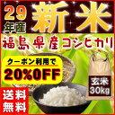 新米 30kg コシヒカリ 玄米 お米 米 29年産 福島県産 送料無料 20%OFFクーポン発行中