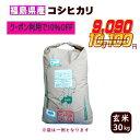 30kg コシヒカリ 玄米 お米 30年産 福島県産 送料無料 一等 クーポン利用で10%OFF 『