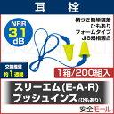 送料無料 耳栓 3M プッシュインスひもあり(200組/1箱)318-4001(遮音値/NRR:31dB)(防音/遮音/騒音対策/粉塵対策)