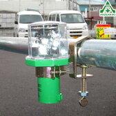 青赤交互点滅で優しい安全 LED 【ソーラーパンチ】単管取付用Sクランプ付