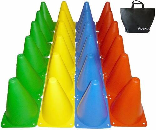 マーカーコーン 18cm 24本セット 全4色×各6本 収納袋付 サッカー フットサル バスケットボール 陸上 トレーニング 練習