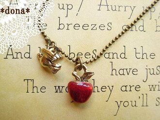 《 delivery possible 》 Metal motif necklace (fruit, apple, apple) 5102P06jul13 of apple and shaking small bird / antique collar