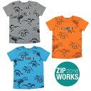 【春夏】ボーイズ/130cm~160cm/ZIPWORKS半袖Tシャツ/恐竜/プリント/総柄/ジップワークス/marathon