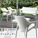 【全品ポイント2倍】【送料無料】《ガーデンファニチャー/椅子》SCB-AC05W オリンピア アームチェアー ホワイト