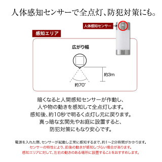 LGS-71/MH3PWセンサーポールライトL2本組/電池付