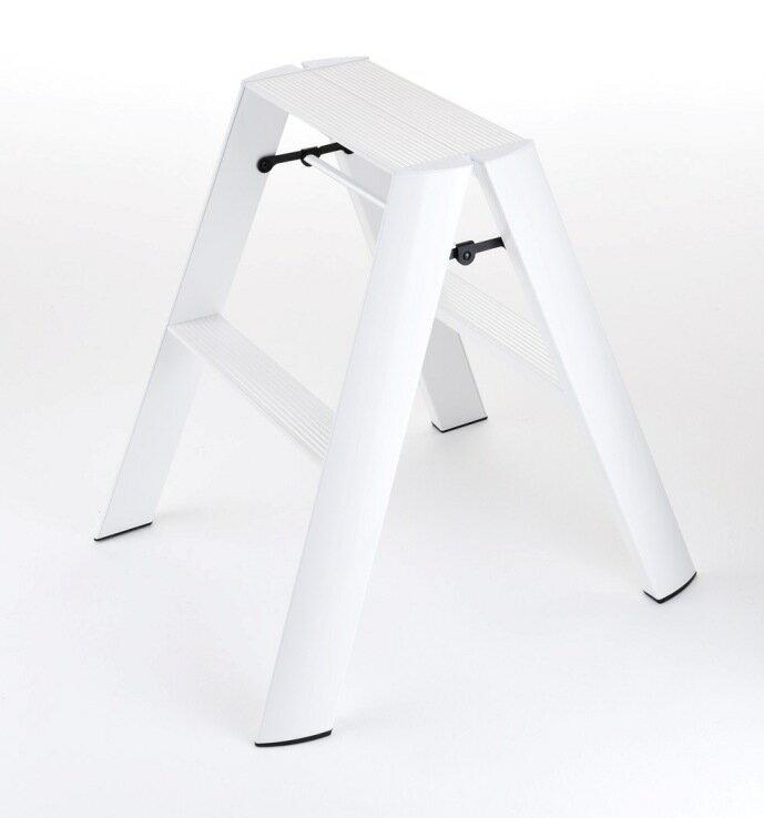 [3点購入で5%OFFクーポン]グッドデザイン賞に輝くMETAPHYS アルミ製 脚立 ルカーノlucano ステップスツール[ホワイト](ワンタッチバー付)ML2.0-2(WH) おしゃれな折りたたみ ふみ台 デザイナーズ脚立(踏み台) 2段  あす楽 送料無料