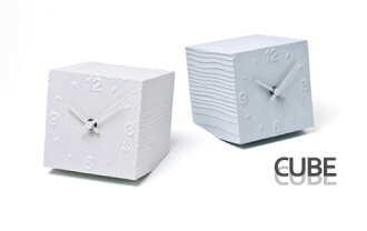 Stylish table clock CUBE( cube )AZ-10-17 WH