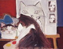 久下 貴史 絵画・アート(版画)/画家フェデリコ自画像を描く/ねこ・ネコ・猫