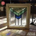 アンティーク ステンドグラス ブルー グリーン イエロー 矢羽模様 三角形 ≪042≫アンティーク 雑貨 イギリス製ガラス ブロカント インテリア
