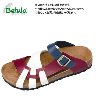 Betula by Birkenstock LAMBADA white / blue / dark Cherry clock Sandals / comfort Sandals ビルコフロー Betula By Birkenstock Lambada White/Blue/DarkCherry Birko Flor