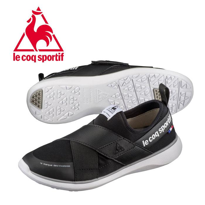 ルコック le coq sportif スポルティフ LA エール ダブルベルト スリッポン レディース スニーカー ブラック 軽量 女性 QL3LJC02BK 靴 くつ クツ スリップオン 紐なし