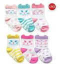 儿童, 婴幼儿, 母婴用品 - ねこちゃん靴下 6足セット Jefferies socks ジェフリーズソックス 女の子 ネコ 滑り止め付 ベビー 幼児