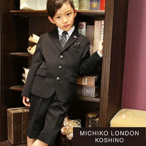 2471-5420【送料無料】入学式 男の子 ブラックスーツ 6点セット ギンガムチェック又はストライプのクレリックシャツ MICHIKO LONDON KOSHINO/ミチコロンドンコシノ 110 120 130cm(ゆったりサイズあり)