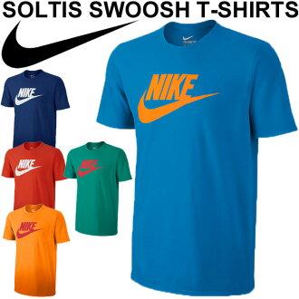 男士 T 襯衫耐克耐克 Soltis 耐克 T 襯衫短袖運動服斜徽標列印男裝 / 男人的運行健身房訓練 t 恤上衣 / 807930