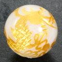 ムーンストーン 12mm (金彫り) 五爪龍 ブラジル産 【彫刻 一粒売りビーズ】 風水 パワーストーン