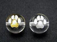 ほっこり♪♪ 猫の足跡 猫の肉球ビーズ 水晶 10mm玉 選べる金彫り・銀彫り|手作りにオススメ! 天然石|パワーストーン| 【RCP】 10P11Apr15