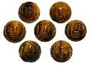 七福神 タイガーアイ 立体手彫り玉セット 14mmセット【彫刻ビーズ】天然石 パワーストーン