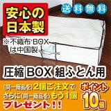 2個ご注文でさらにもう1個プレゼント!さらに期間限定大人気のボックス型圧縮袋圧縮BOX 組ふとん用 1枚入圧縮袋は安心の日本製 品質保証書付