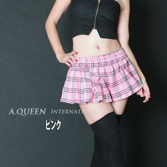 チェックプリーツミニ! / f [cosplay lingerie faux leather tight CAMI tank flare A line, Lowrise, showing bra