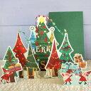 立体クリスマスカード colobockle Christmas wide card (ツリーの森をサンタがプレゼント配達)【グリーティングカード・ギフトカード..