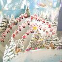 メルヘンポップアップクリスマスカード『サンタクロースとツリー動物たちで賑わう森』3D立体カード【グリーティングカード・ギフトカード・メッセージカード・greet...