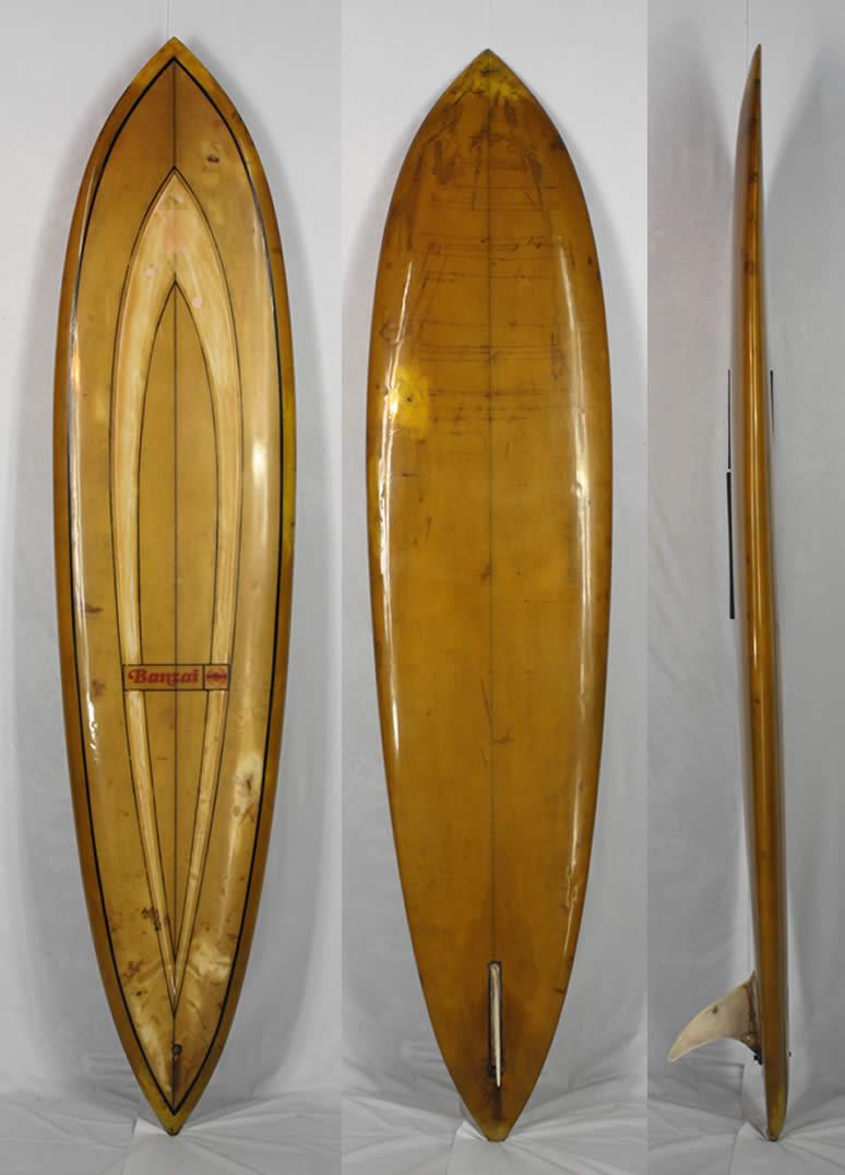 【希少中古】BANZAI SURF BOARD(バンザイサーフボード)ビンテージ サーフボード[Ocher]7'9