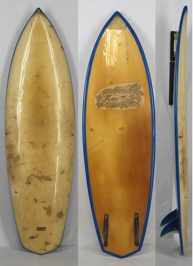 【希少中古】TAROA SURF BOARD(タロア)ヴィンテージ サーフボード[OCHER/BLUE]6'1