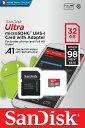 SanDisk サンディスク Ultra microSDHCカード 32GB Class10 UHS-I A1対応 読込速度:98MB/s SDSQUAR-032G-GN6MA
