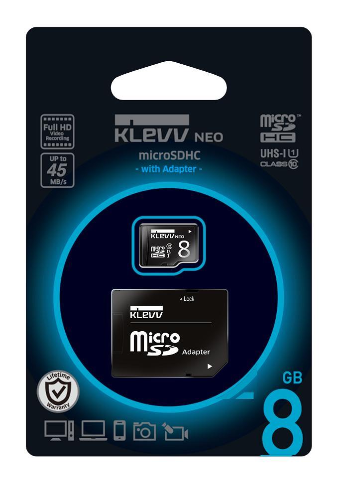 ESSENCORE エッセンコア KLEVV クレブ NEO microSDHCカード 8GB CLASS10 UHS-1対応 最大読込速度 45MB/s SD変換アダプタ付 U008GUC1U18-DK