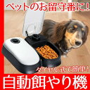 オートペットフィーダー タイマー付き 自動給餌器 自動餌やり機 保冷剤付き 犬 猫 ペットのお留守番に!YT-PF04-BW(ネコポス便不可)