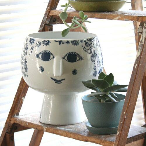 【Bjorn Wiinblad フラワーポット ブルー 16cm】花瓶 フラワーベース ビヨン ヴィンブラッド 磁器 ギフト■ 送料無料■ ラッピング無料