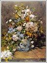 【送料無料】複製名画油絵 ルノワール作「春の花束」額付き 絵画サイズ: 30x40 cm