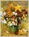 【送料無料】複製名画油絵 ルノワール作「菊の花束」額装無し 絵画サイズ: 30x40 cm