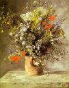 【送料無料】複製名画油絵 ルノワール作「茶色い花瓶の花」額付き 絵画サイズ: 30x40 cm