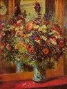 【送料無料】複製名画油絵 ルノワール作「鏡の前の花瓶の花」額付き 絵画サイズ: 30x40 cm