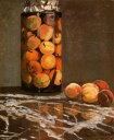 【送料無料】複製名画油絵 モネ作「桃の瓶」 額付き 絵画サイズ: 50x60 cm