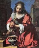 荷兰黄金期的最超群的画家ferumeru初期的作品!!各一张(件)精心用手写画的名画的复制品给(对)��的房间给予再加上色彩。【】复制名画油画 ferumeru作品「圣pu[【】複製名画油絵 フェルメール作「聖プラクセディス」
