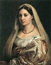 【送料無料】複製名画油絵 ラファエロ作「ヴェ−ルを被る婦人の肖像 」額付き 絵画サイズ: 50x60 cm