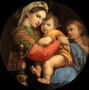 【RCP】【送料無料】複製名画油絵 ラファエロ作「小椅子の聖母」額付き 絵画サイズ: 40x50 cm