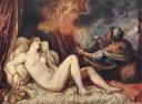 【送料無料】複製名画油絵 ティツィアーノ作「ダナエ」額付き絵画サイズ: 50x60 cm