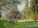 【送料無料】複製名画油絵 モネ作「モンソー公園(花咲くマロニエの樹)」  額付き 絵画サイズ: 50x60 cm