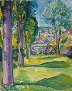 【送料無料】複製名画油絵 ムンク作「クラーゲルーの庭」額付き 絵画サイズ: 40x50 cm
