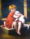 【額装無し】【送料無料】技法が選べるオーダーメイド油絵  人物一人&ペット二匹  額縁付き 絵画サイズ: 50 x 60cm